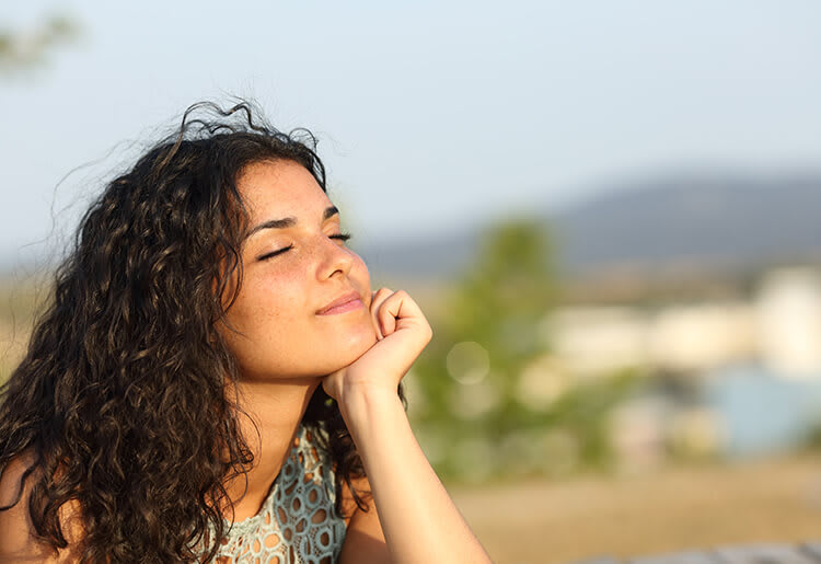 A mindful woman finding clarity