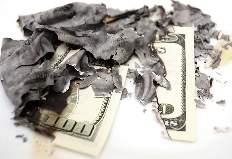 getting hit with chargebacks is the same thing as burning dollar bills