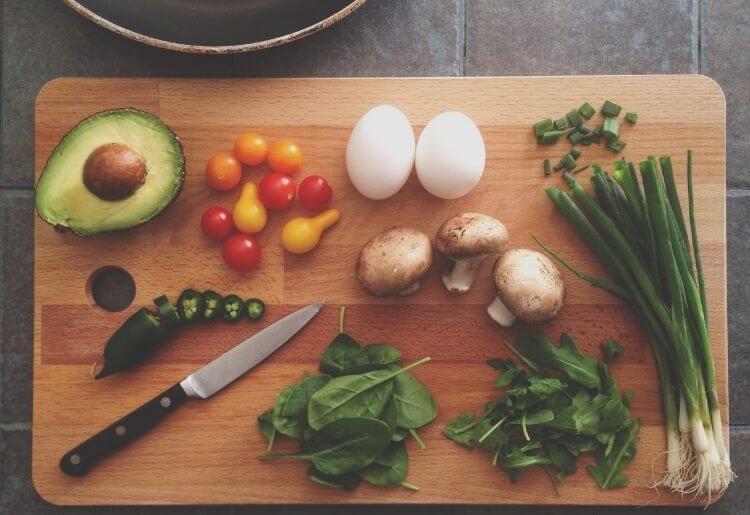 chopped food on a cutting board