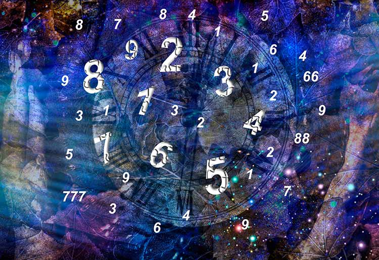 Numbers flying through space.