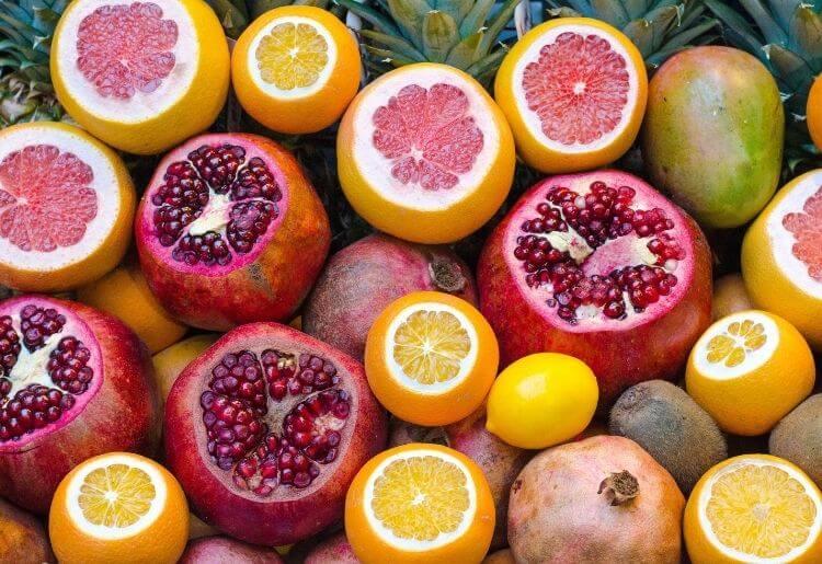 Lemons, oranges and pomegranates