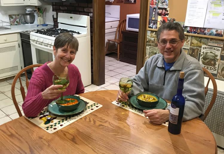 Couple enjoying dinner from meal kits