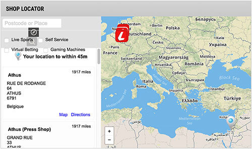 Easily find Ladbrokes' bricks-and-mortar shops with its Shop Locator