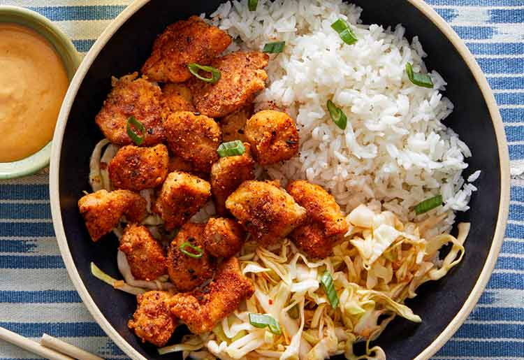 Blue Apron Review - Togarashi popcorn chicken and cabbage slaw