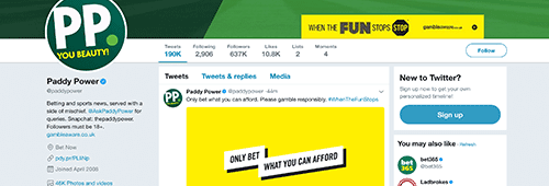 Paddy Power's @paddypower Twitter account is a bit notorious