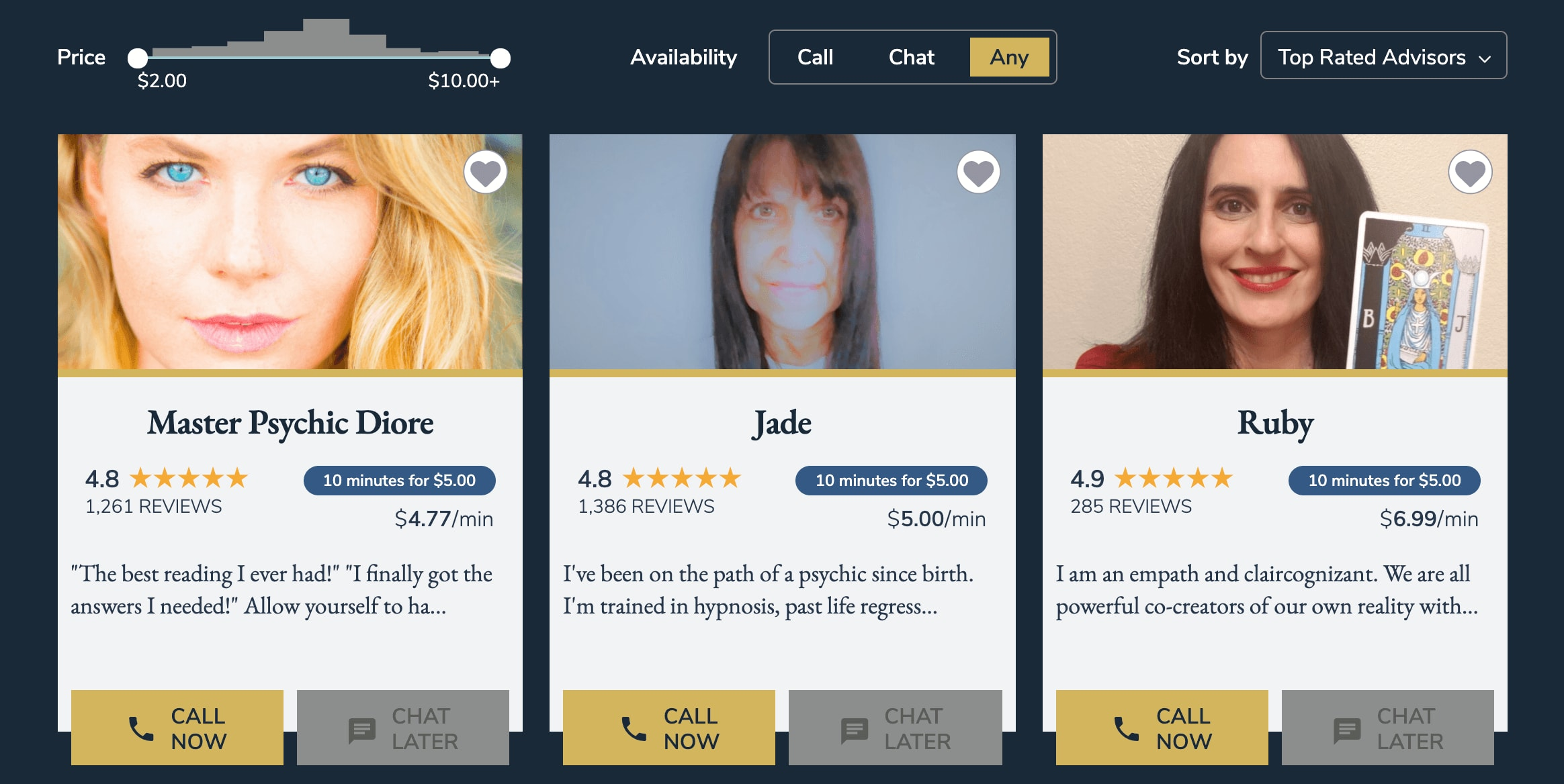 Customer reviews of psychic readers