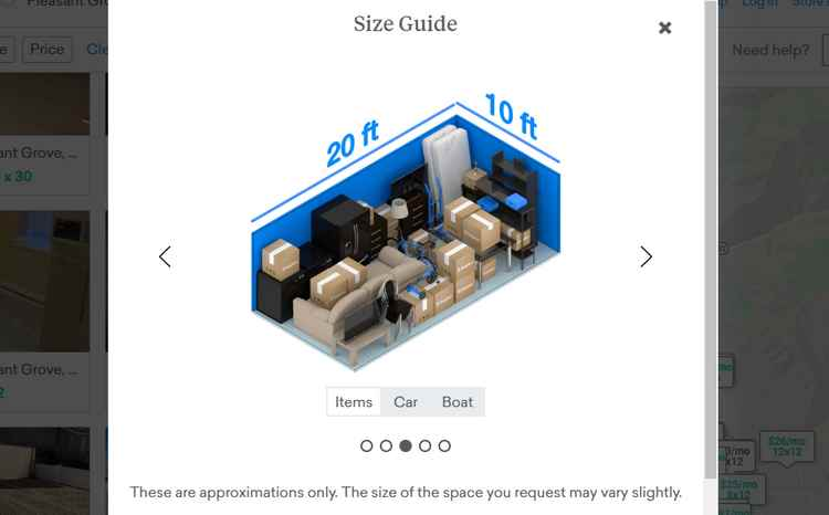 Neighbor storage size guide
