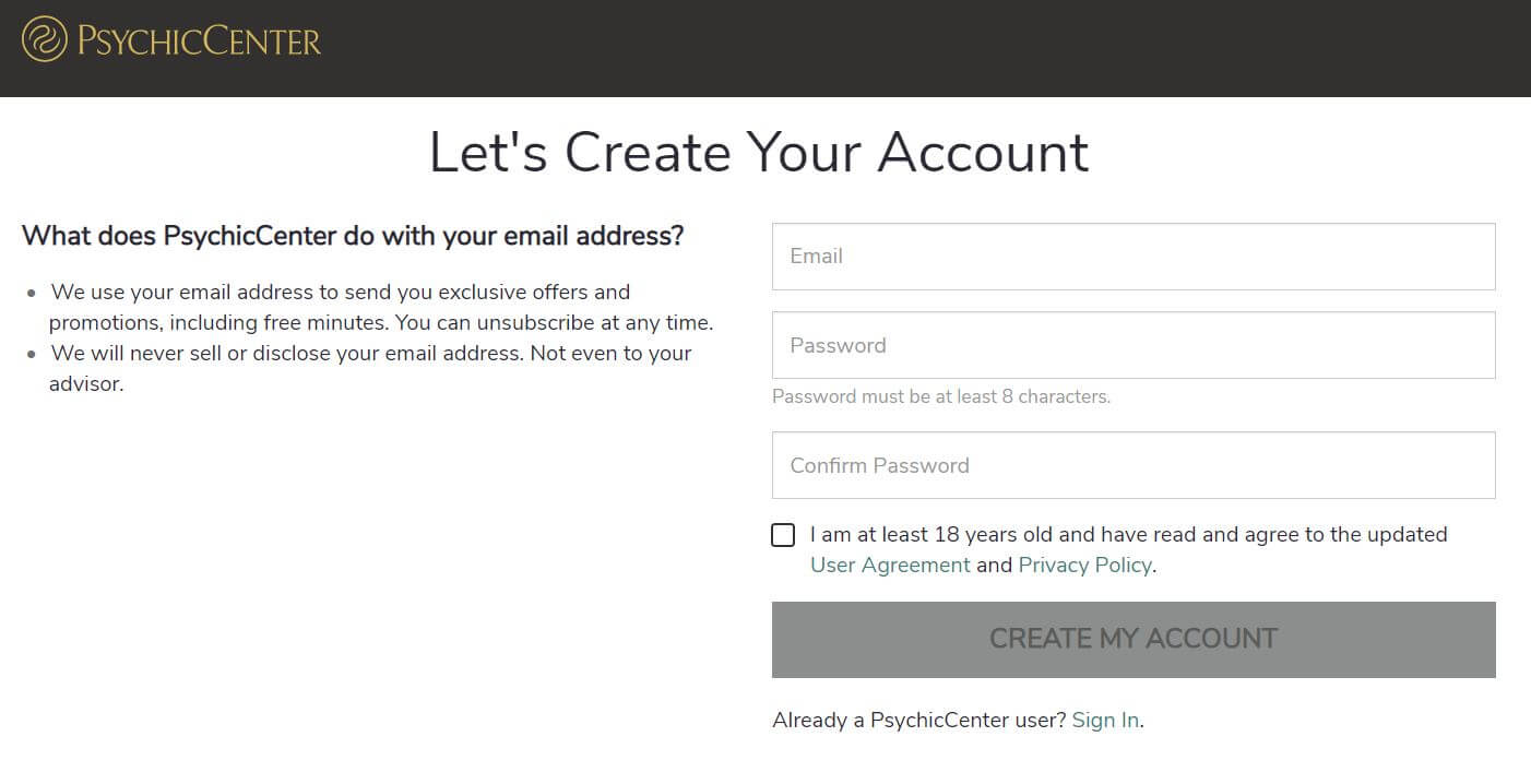 PsychicCenter signup page