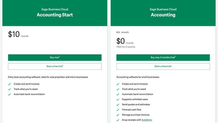 Sage Business Cloud Accounting Pricing and Plans