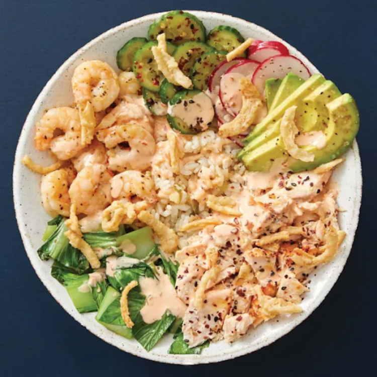 Favorite Blue Apron Dish for Mediterranean Diet: Salmon & Shrimp Poke Bowl with Avocado & Spicy Mayo