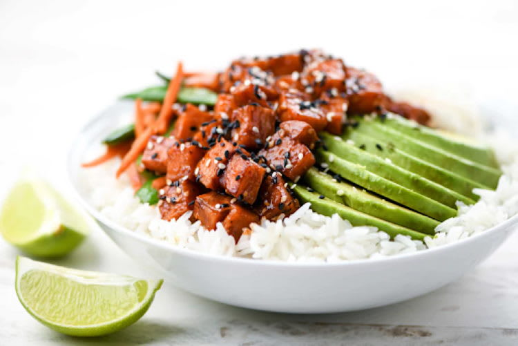 Favorite Home Chef Dish for Mediterranean Diet: Sesame Sweet Potatoes and Avocado with snap peas and jasmine rice