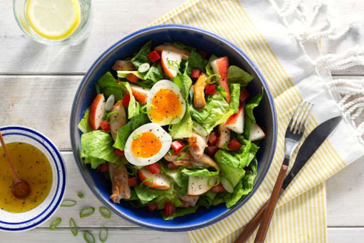 Favorite Sun Basket Dish for Mediterranean Diet: Green salad with chicken, pear, and soft-cooked eggs
