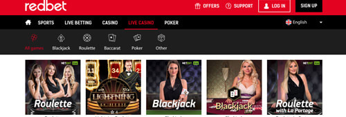 Redbet has a lot of live casino options
