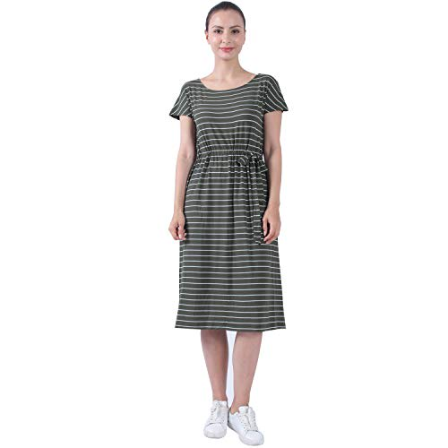 STRIPELAND Ladies Thanksgiving Day Gift, Womens Plus Size Casual Midi T Shirt Dresses with Pockets Knee Length,Olive XX-Large