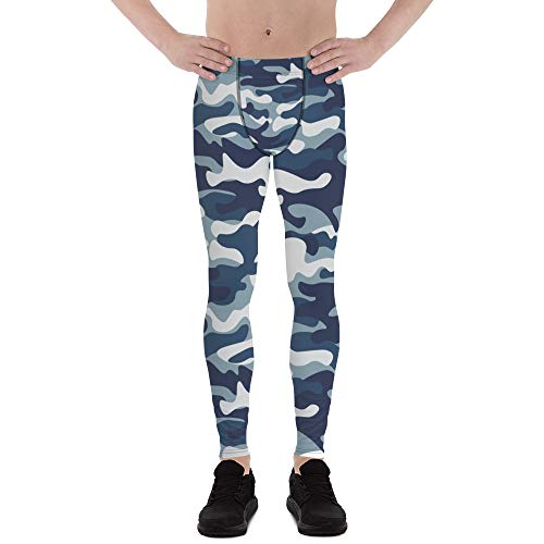 Satori_Stylez Urban Camo Leggings for Men Printed Blue Camouflage Pattern Print Workout Gym Meggings