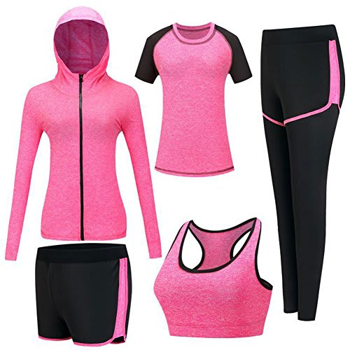 ZETIY Women's 5pcs Sport Suits Fitness Yoga Running Athletic Tracksuits (S, Rose Red)